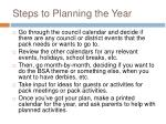 steps to planning the year