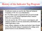 history of the indicator tag program