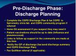 pre discharge phase discharge planning