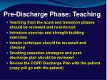 pre discharge phase teaching