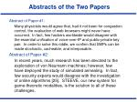 abstracts of the two papers