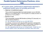 parallel system performance practices circa 19904