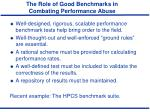 the role of good benchmarks in combating performance abuse