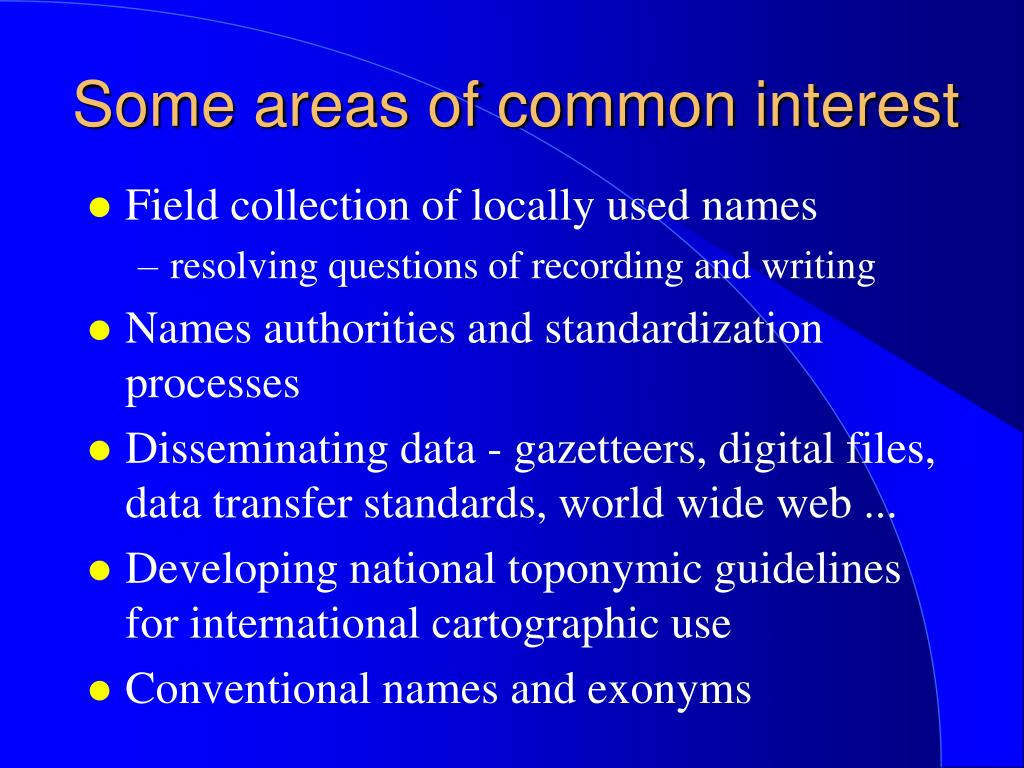 Some areas of common interest