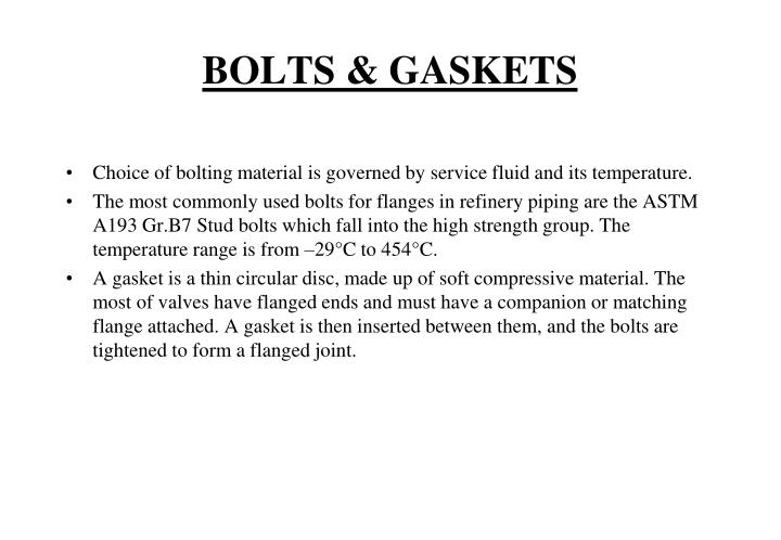 BOLTS & GASKETS