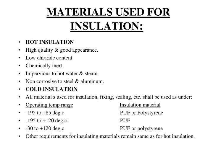 MATERIALS USED FOR INSULATION