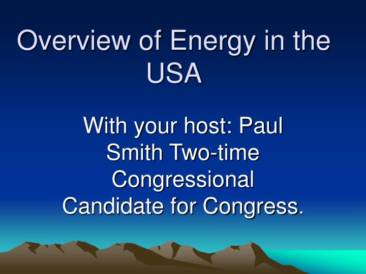 overview of energy in the usa n.