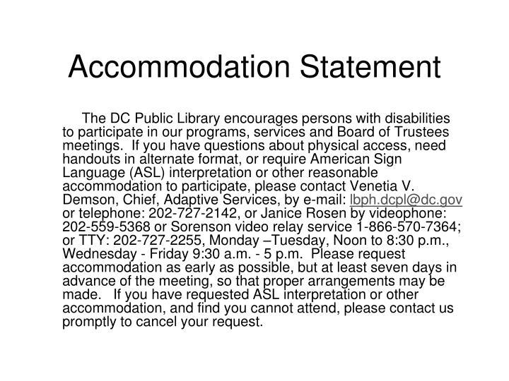 Accommodation Statement