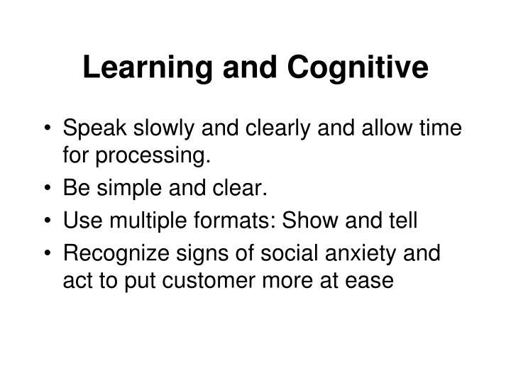 Learning and Cognitive