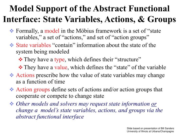 Model Support of the Abstract Functional Interface: State Variables, Actions, & Groups