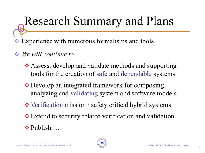 Research Summary and Plans