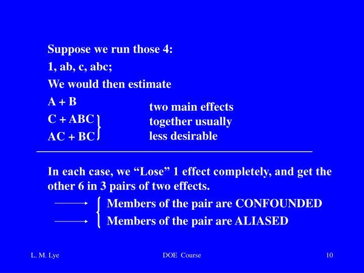Suppose we run those 4: