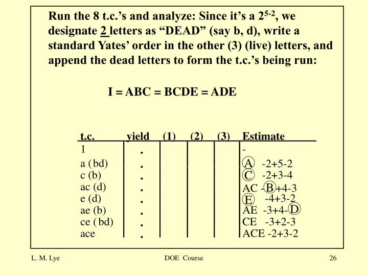 Run the 8 t.c.'s and analyze: Since it's a 2
