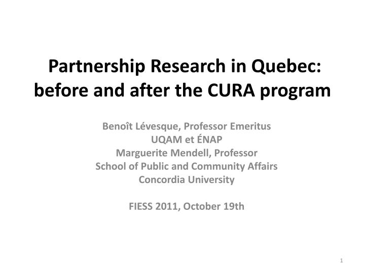 partnership research in quebec before and after the cura program n.