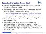 payroll authorization record par
