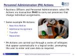 personnel administration pa actions