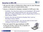 security in iris hr