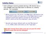 validity dates