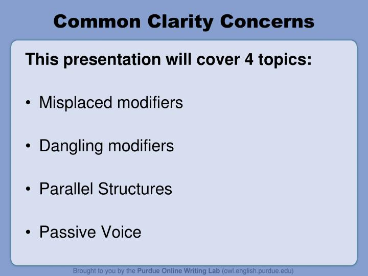 Common clarity concerns