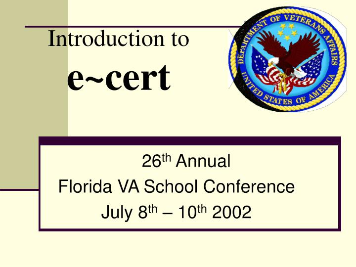 introduction to e cert n.