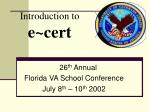 introduction to e cert