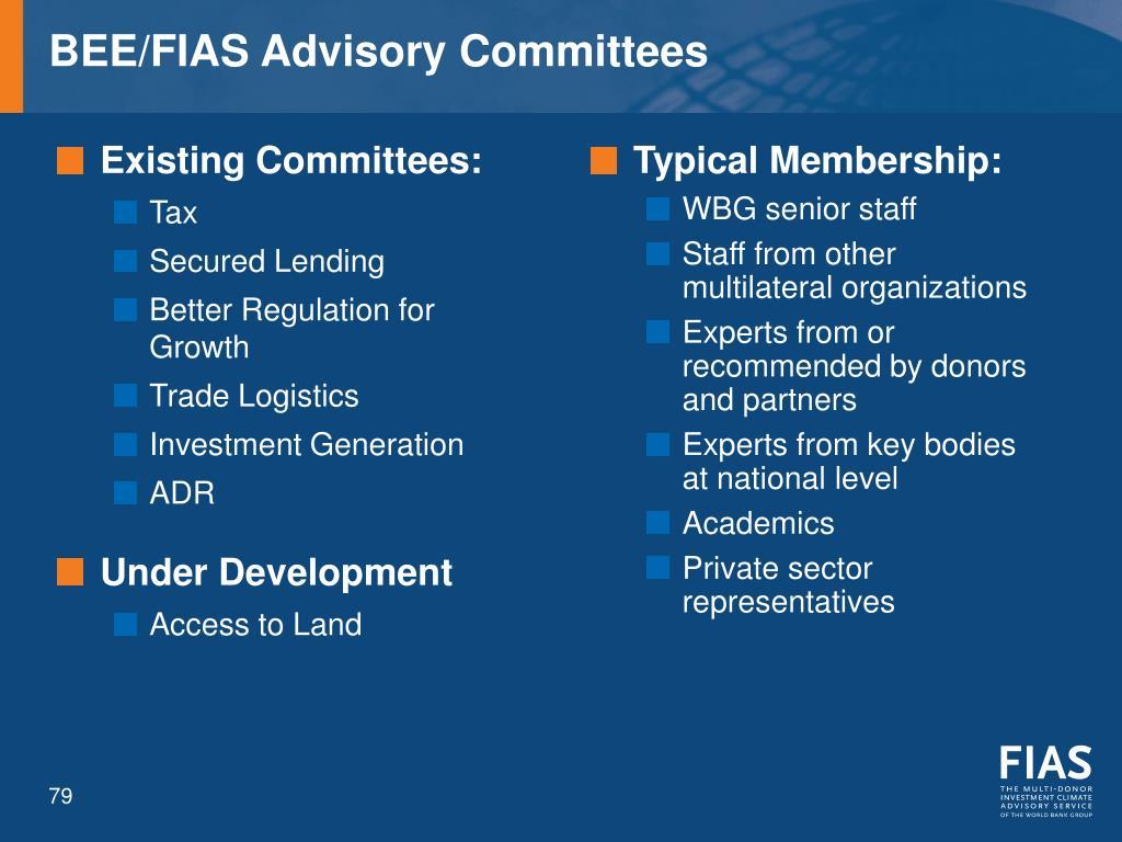 BEE/FIAS Advisory Committees