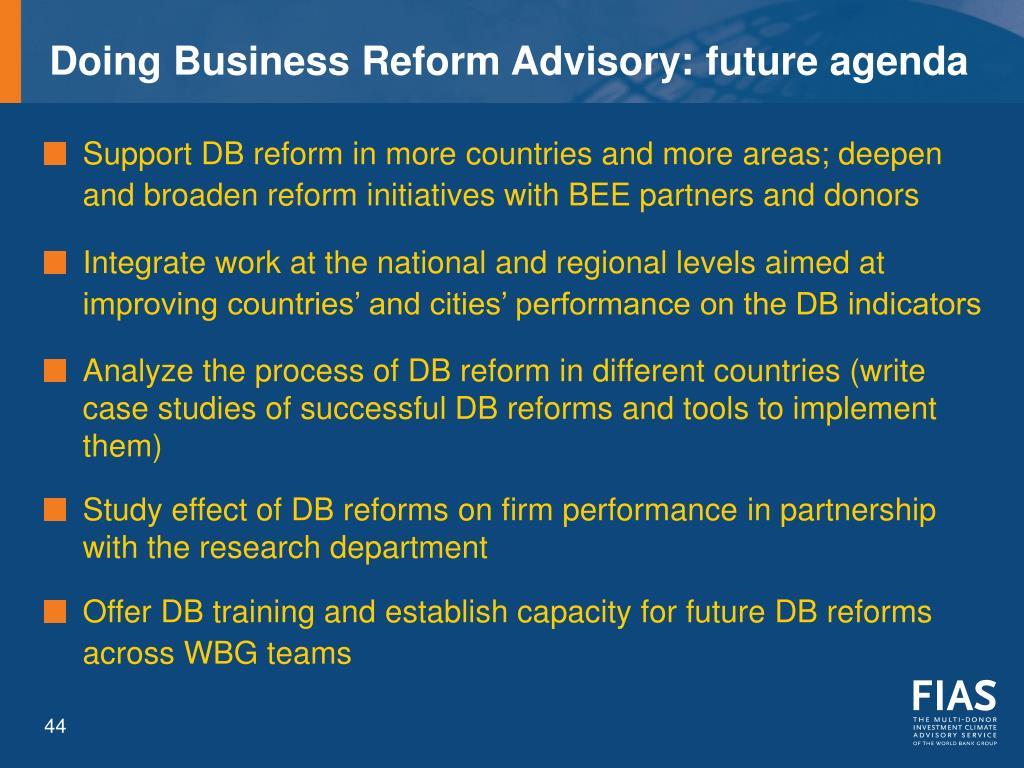 Doing Business Reform Advisory: future agenda