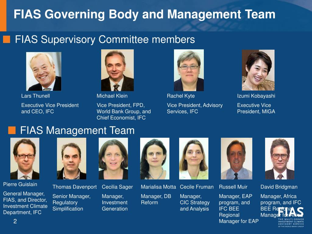 FIAS Governing Body and Management Team
