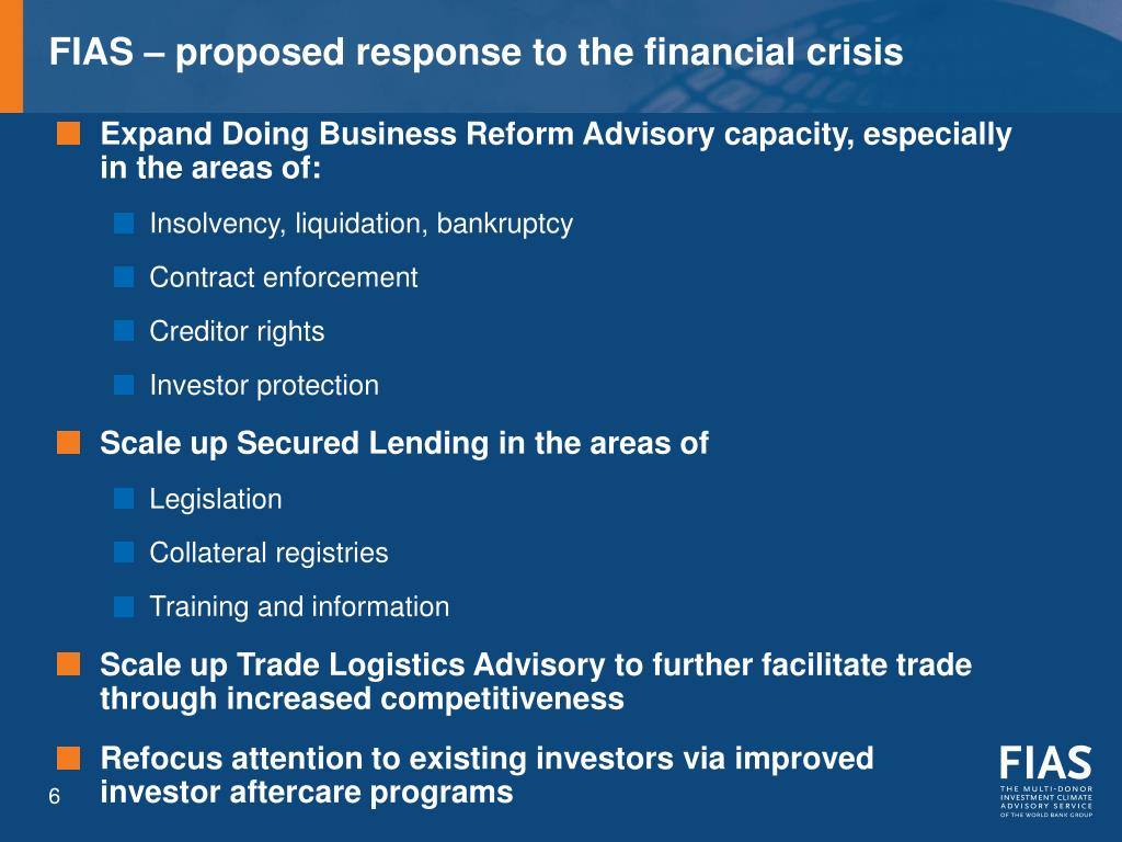FIAS – proposed response to the financial crisis
