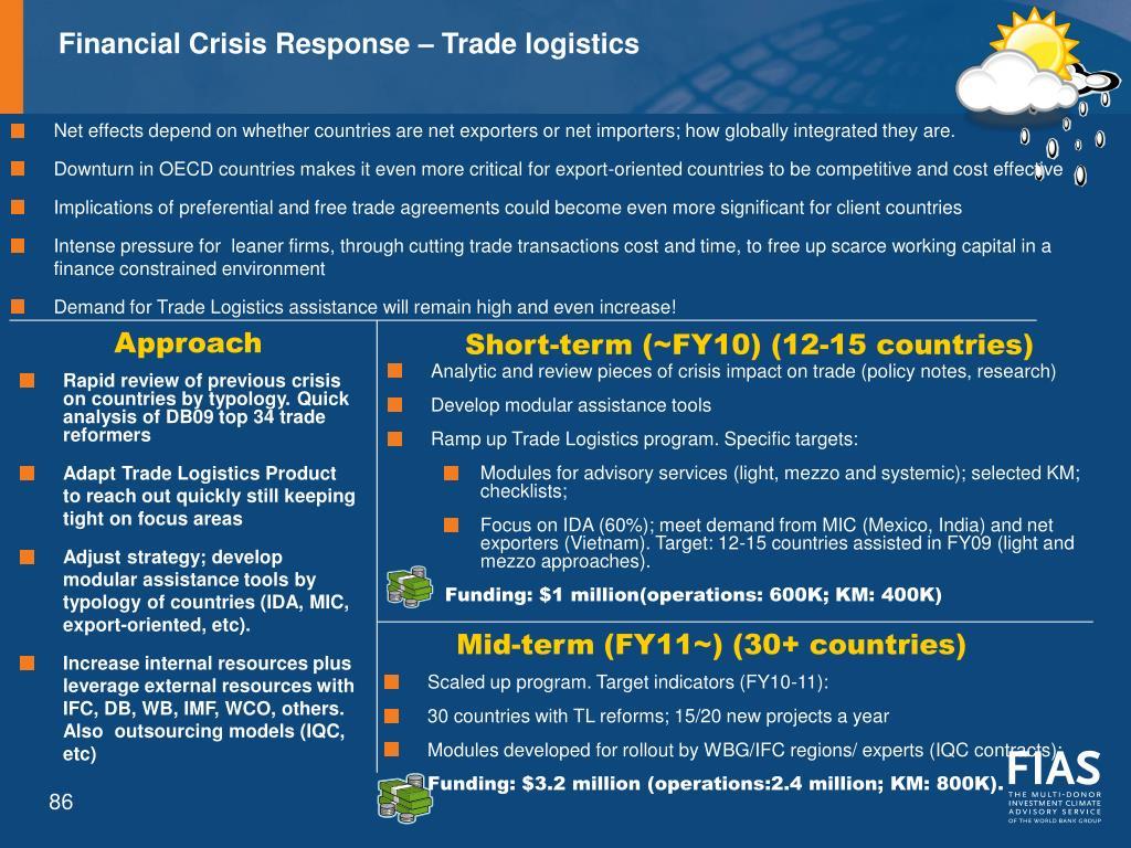 Financial Crisis Response – Trade logistics