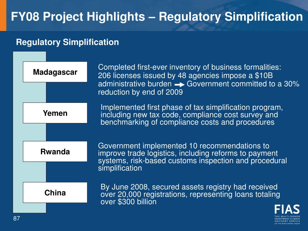 FY08 Project Highlights – Regulatory Simplification
