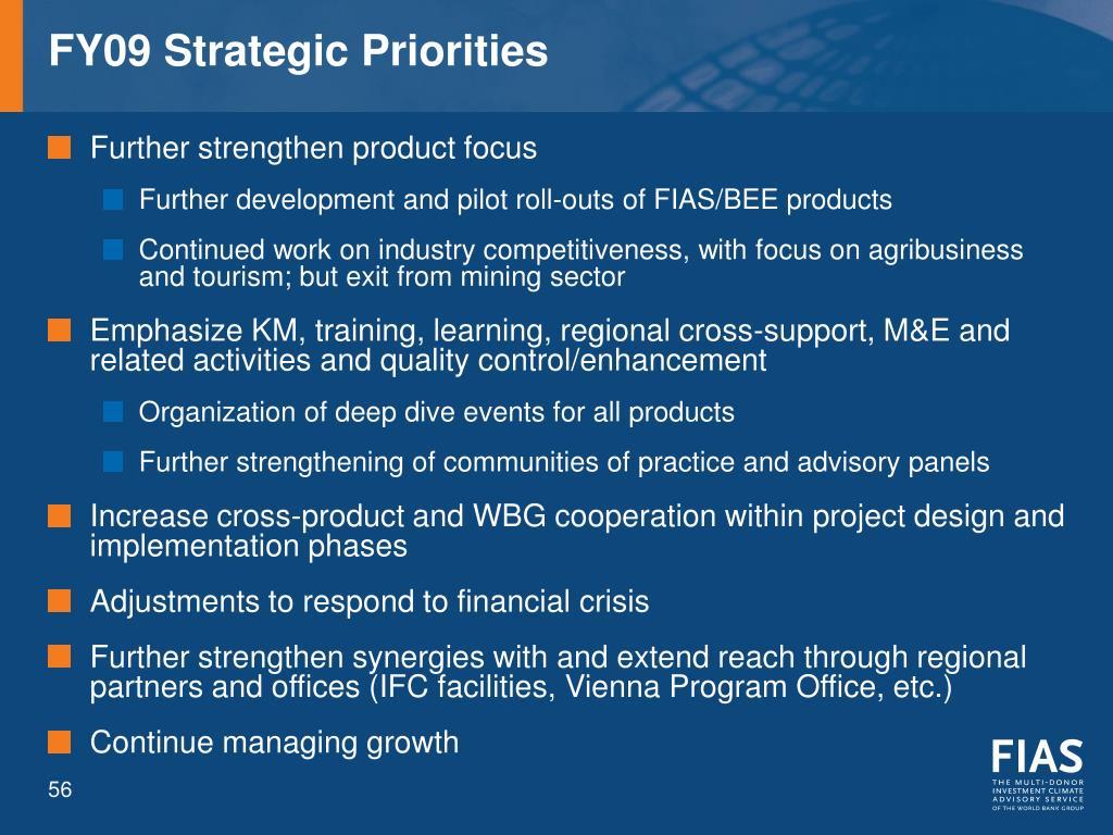 FY09 Strategic Priorities