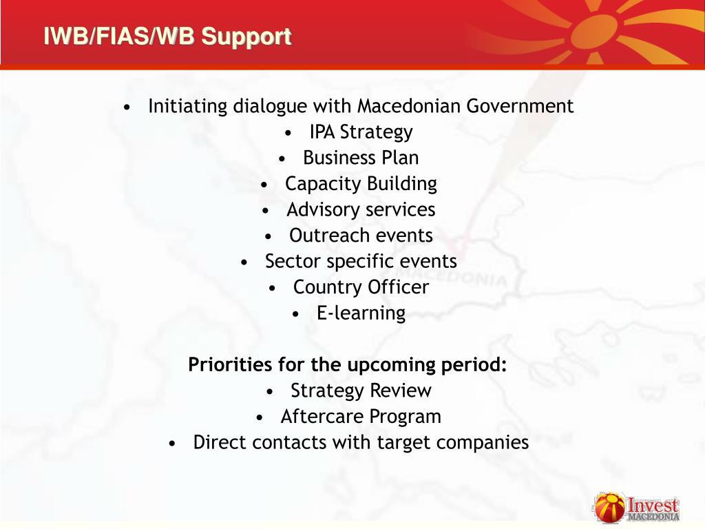 IWB/FIAS/WB Support