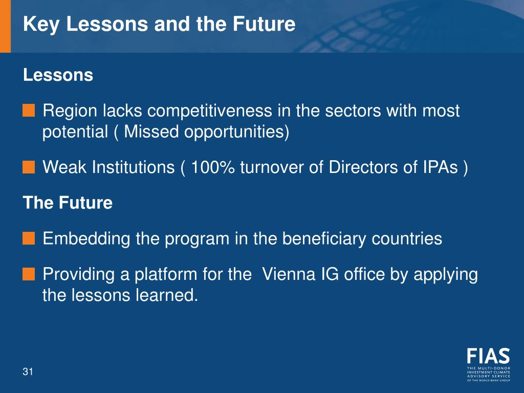 Key Lessons and the Future
