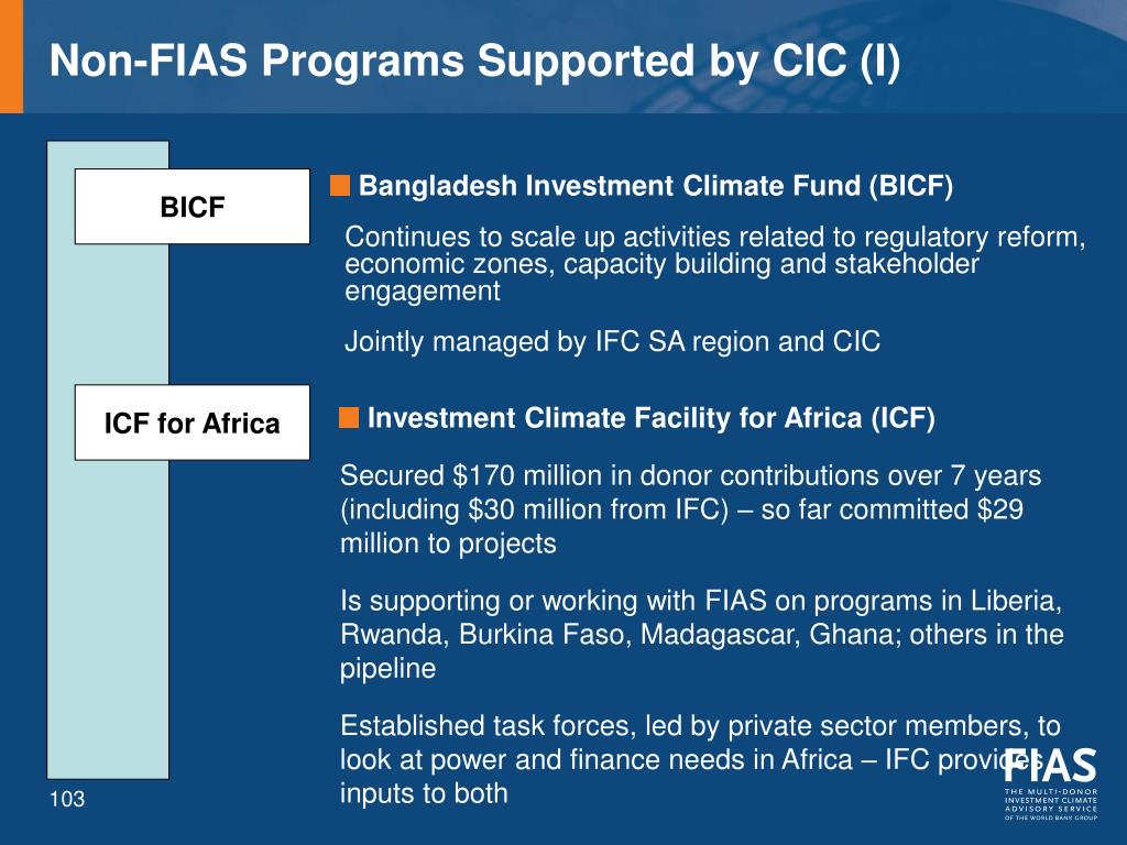 Non-FIAS Programs Supported by CIC (I)