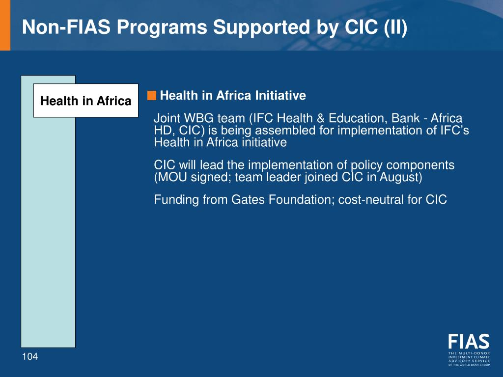 Non-FIAS Programs Supported by CIC (II)