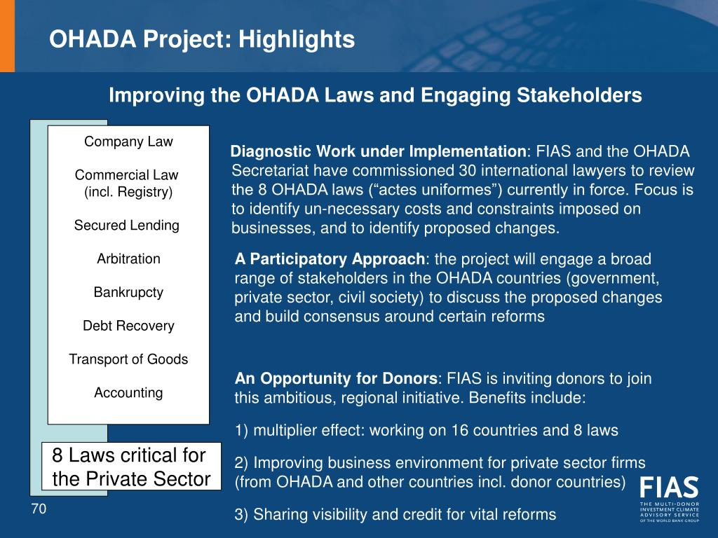 OHADA Project: Highlights