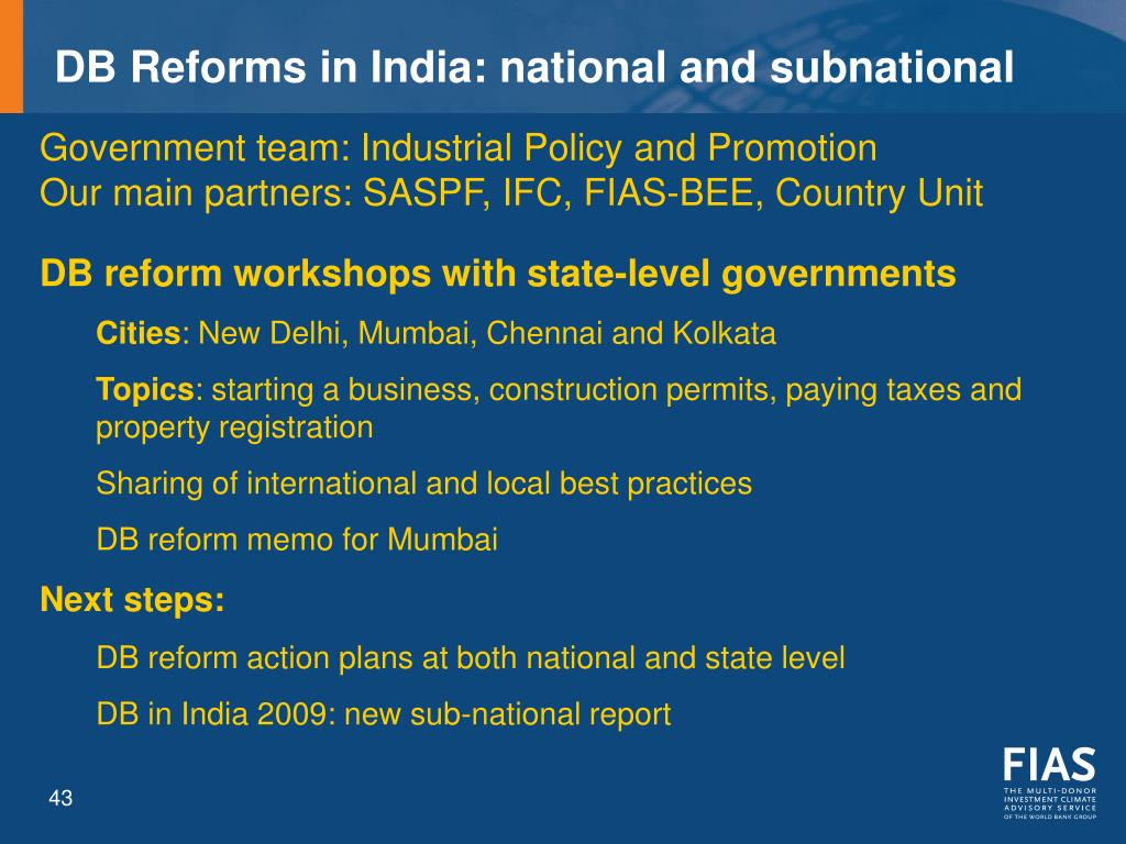 DB Reforms in India: national and subnational
