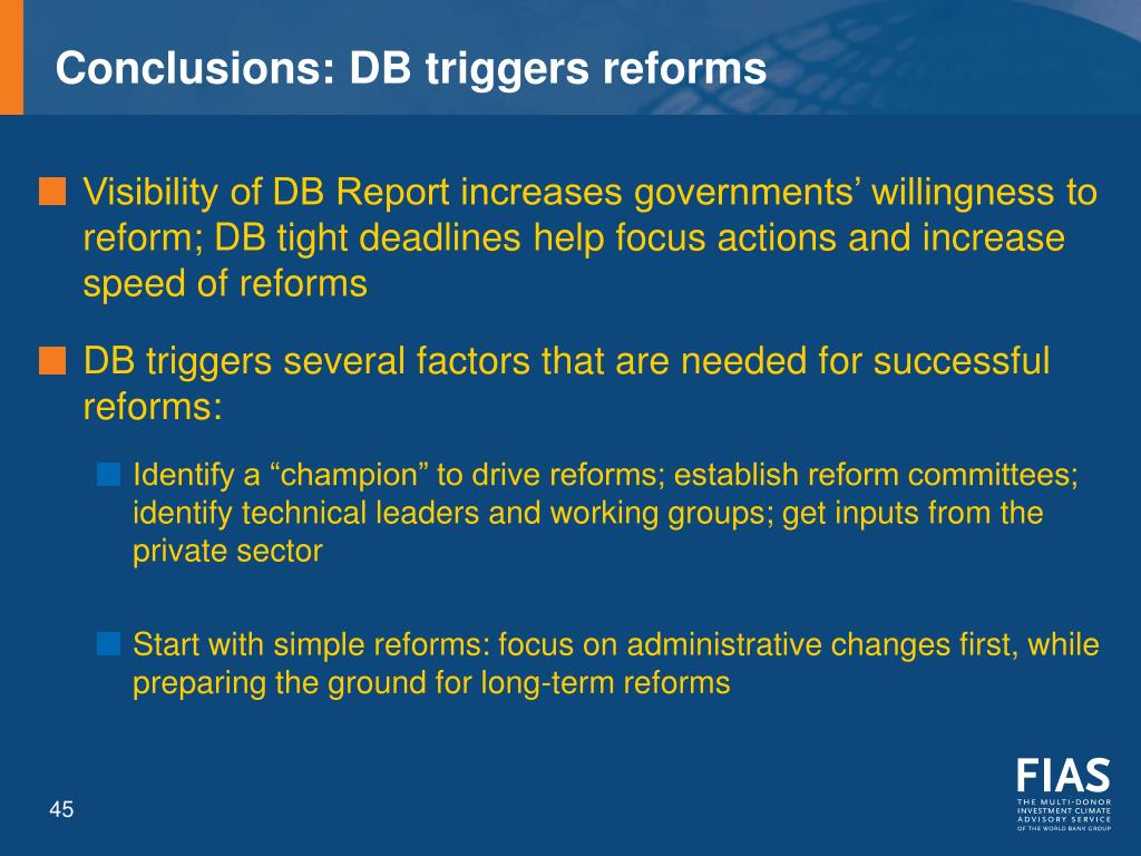Conclusions: DB triggers reforms