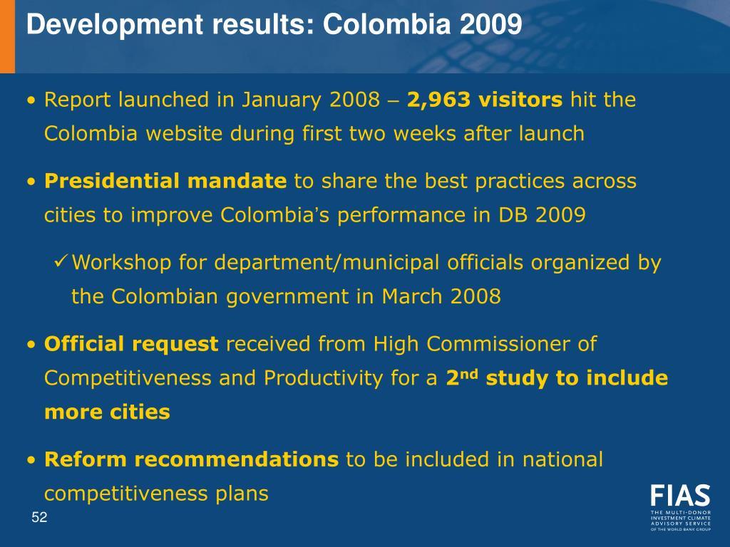 Development results: Colombia 2009