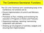 the conference secretariat functions
