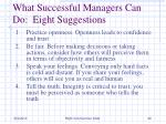 what successful managers can do eight suggestions