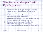 what successful managers can do eight suggestions1