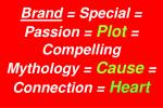 brand special passion plot compelling mythology cause connection heart