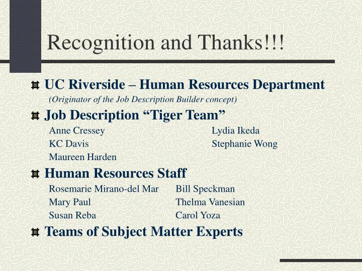 Recognition and Thanks!!!