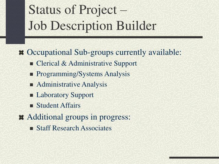Status of Project –