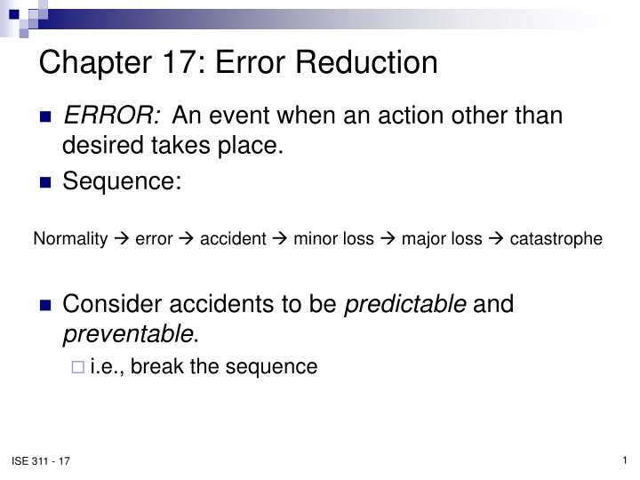 chapter 17 error reduction n.