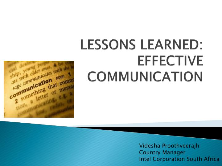 lessons learned effective communication n.