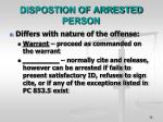 dispostion of arrested person