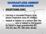 warrantless arrest misdemeanors